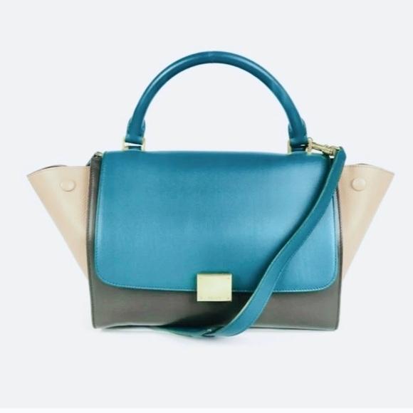 Celine Style Tri Colour Trapeze Handbag Clutch